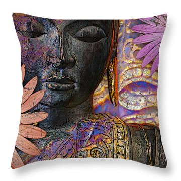 Jewels Of Wisdom - Buddha Floral Artwork Throw Pillow