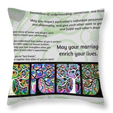 Jewish Seven Wedding Blessings Tree Of Life Hamsas Throw Pillow by Sandra Silberzweig