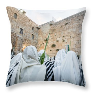 Jewish Sunrise Prayers At The Western Wall, Israel 10 Throw Pillow