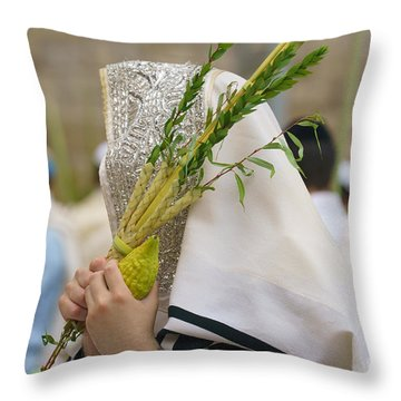 Jewish Sunrise Prayers At The Western Wall, Israel 5 Throw Pillow