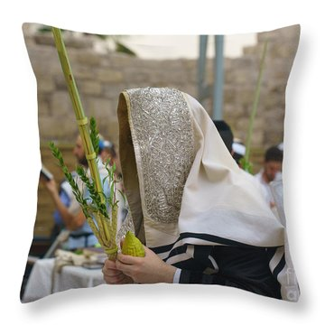 Jewish Sunrise Prayers At The Western Wall, Israel 7 Throw Pillow
