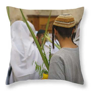 Jewish Sunrise Prayers At The Western Wall, Israel 8 Throw Pillow