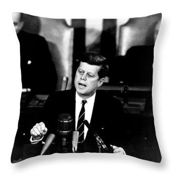 Jfk Announces Moon Landing Mission Throw Pillow