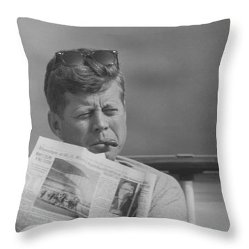 Jfk Relaxing Outside Throw Pillow by War Is Hell Store