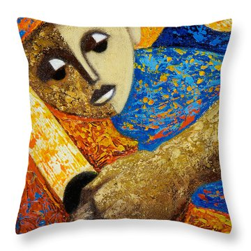 Jibaro Y Sol Throw Pillow by Oscar Ortiz