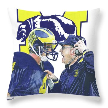 Jim Harbaugh And Bo Schembechler Throw Pillow by Chris Brown