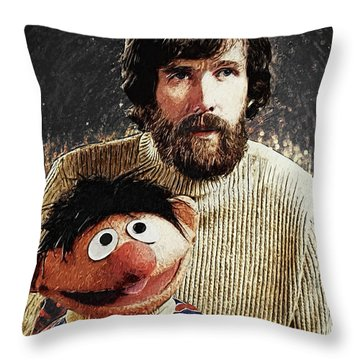Throw Pillow featuring the digital art Jim Henson With Ernie by Taylan Apukovska