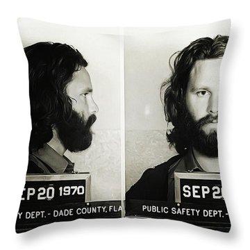 Jim Morrison Mugshot Throw Pillow