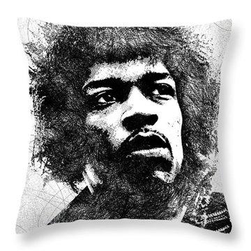 Jimi Hendrix Bw Portrait Throw Pillow