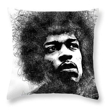 Jimi Hendrix Bw Scribbles Portrait Throw Pillow