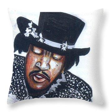 Throw Pillow featuring the painting Jimi Hendrix by Emmanuel Baliyanga