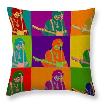 Jimi Hendrix In The Style Of Andy Warhol Throw Pillow