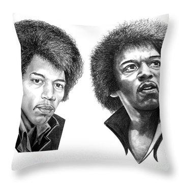 Jimi Hendrix Throw Pillow by Murphy Elliott