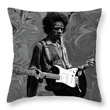 Throw Pillow featuring the photograph Jimi Hendrix Purple Haze B W by David Dehner