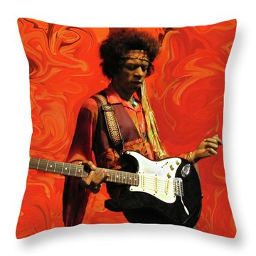 Throw Pillow featuring the photograph Jimi Hendrix Purple Haze Orange by David Dehner