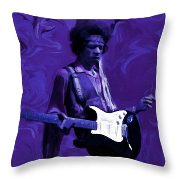 Throw Pillow featuring the painting Jimi Hendrix Purple Haze P D P by David Dehner