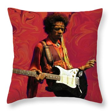Throw Pillow featuring the photograph Jimi Hendrix Purple Haze Red by David Dehner