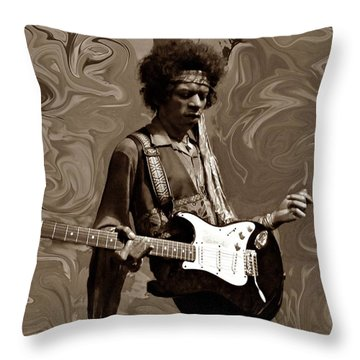 Throw Pillow featuring the photograph Jimi Hendrix Purple Haze Sepia by David Dehner