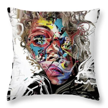 Jimi Hendrix Throw Pillow by Russell Pierce