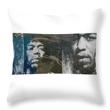 Jimi Hendrix Triptych Throw Pillow