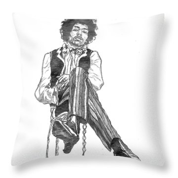 Jimi Throw Pillow by Rachel Natalie Rawlins