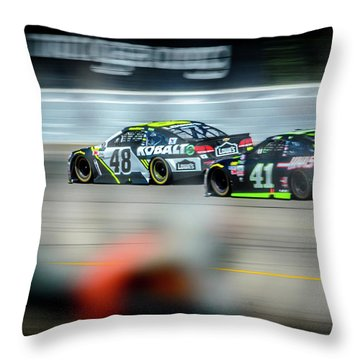 Jimmie Johnson Charging Ahead At Mis Throw Pillow