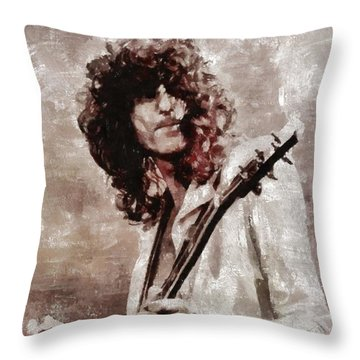 Jimmy Page By Mary Bassett Throw Pillow