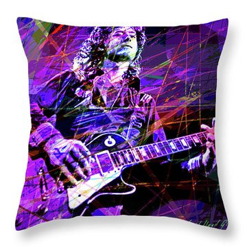 Jimmy Page Solos Throw Pillow by David Lloyd Glover