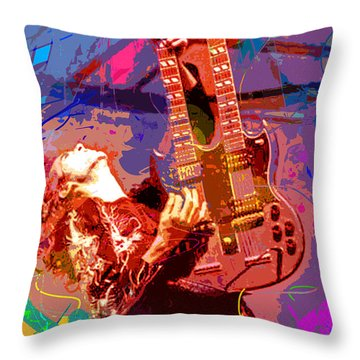Jimmy Page Stairway To Heaven Throw Pillow by David Lloyd Glover