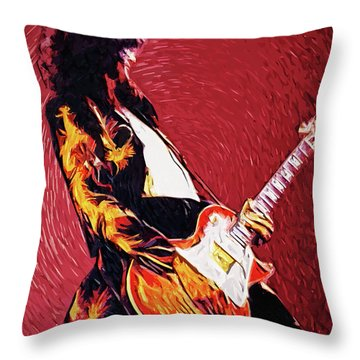Jimmy Page  Throw Pillow by Taylan Apukovska