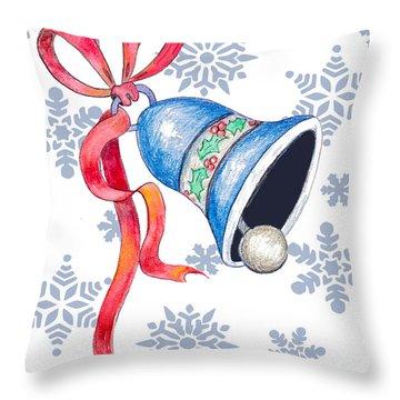 Jingle Bells And Snowflakes On Christmas Day Throw Pillow