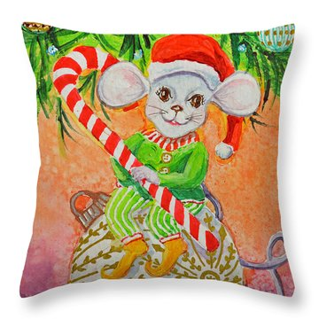 Throw Pillow featuring the painting Jingle Mouse by Li Newton