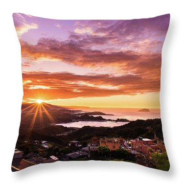 Throw Pillow featuring the photograph Jiufen Sunset by Geoffrey C Lewis
