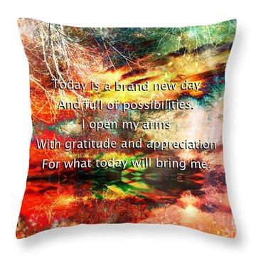 Throw Pillow featuring the digital art Gratitude by Atousa Raissyan