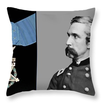 J.l. Chamberlain And The Medal Of Honor Throw Pillow