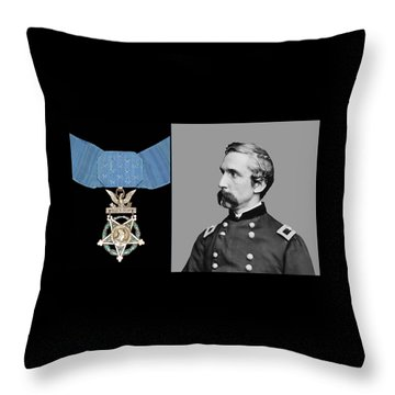 J.l. Chamberlain And The Medal Of Honor Throw Pillow by War Is Hell Store