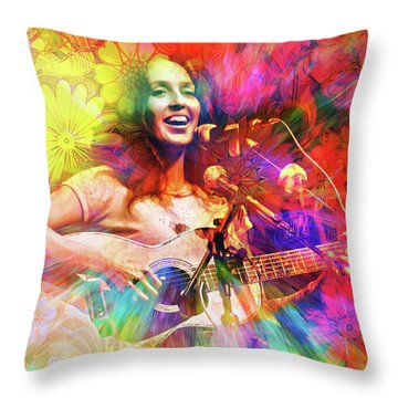 Joan Baez Throw Pillow