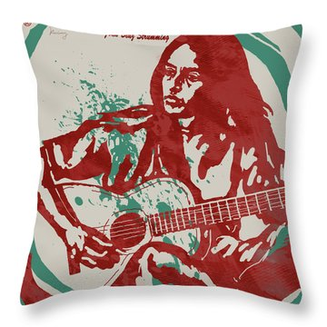 Joan Baez Strumming Pop Stylised Art Sketch Poster Throw Pillow