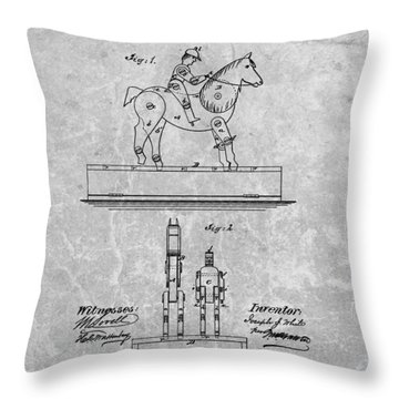 Jockey Toy Patent Charcoal Throw Pillow