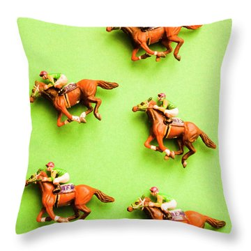 Jockeys And Horses Throw Pillow