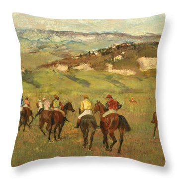 Jockeys On Horseback Before Distant Hills Throw Pillow