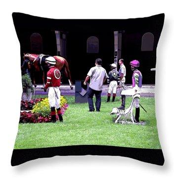 Jockeys Painting Throw Pillow