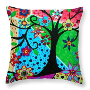 Throw Pillow featuring the painting Jodi's Tree Of Life by Pristine Cartera Turkus