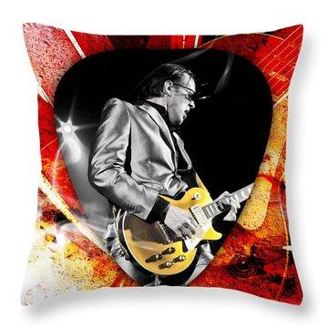 Joe Bonamassa Blue Guitar Art Throw Pillow by Marvin Blaine