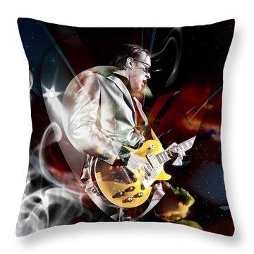 Joe Bonamassa Blue Guitarist Throw Pillow by Marvin Blaine