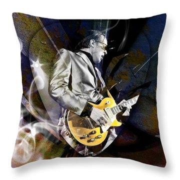 Joe Bonamassa Blues Guitarist Throw Pillow by Marvin Blaine