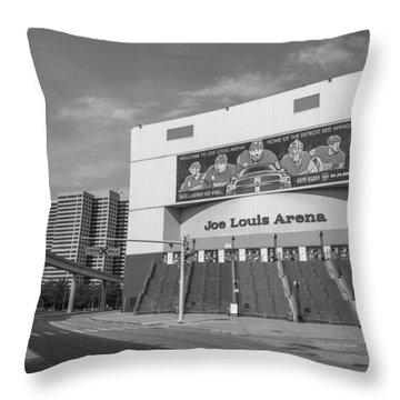 Joe Louis Arena Black And White  Throw Pillow
