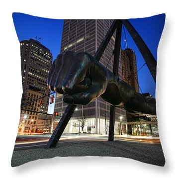 Joe Louis Fist Statue Jefferson And Woodward Ave. Detroit Michigan Throw Pillow by Gordon Dean II