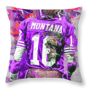 Joe Montana 16 San Francisco 49ers Football Throw Pillow by David Haskett
