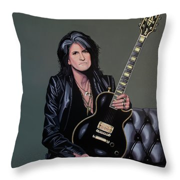 Joe Perry Of Aerosmith Painting Throw Pillow by Paul Meijering